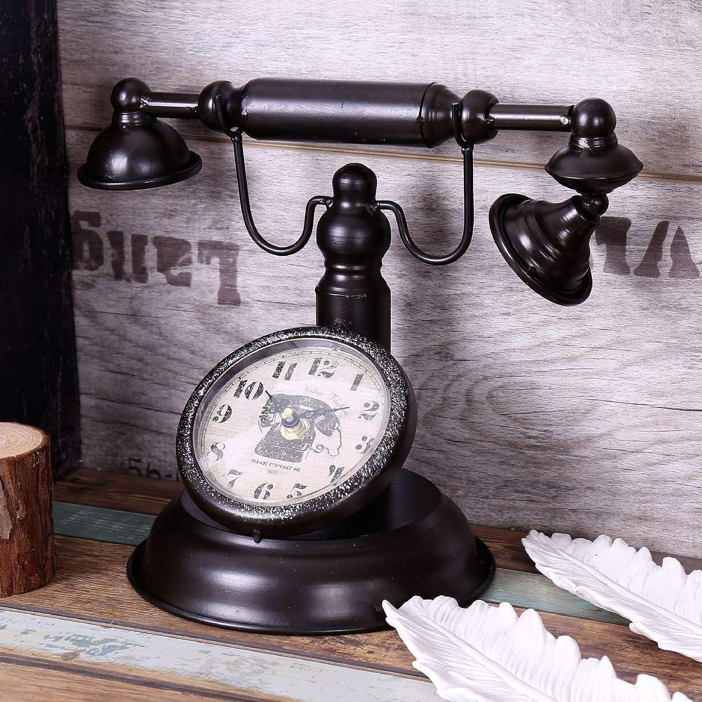 Mzjj Retro Vintage Telephone Table Clock Creative Bar Cafe Decoration Home Clock Clothing Shop Window Model Decoration Table Watch Color Black Home Kitchen