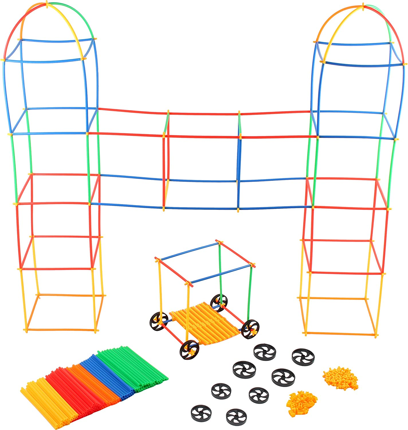 Building Toys For Kids 400 Set Straws and Connector + Wheels - Colorful and Strong Kids Construction Toys With Special Connectors - Great Gift Building Blocks For Boys And Girls - Original - By Play22 Review