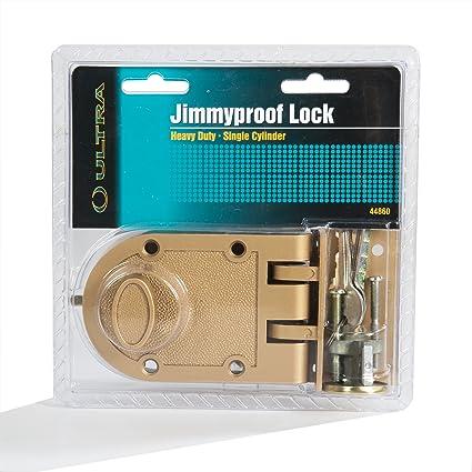 Heavy Duty Jimmy Proof Deadbolt Door Lock Brass Single Cylinder with Key Entry  sc 1 st  Amazon.com & Heavy Duty Jimmy Proof Deadbolt Door Lock Brass Single Cylinder ...