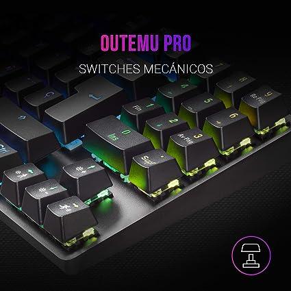 MARSGAMING MKREVOPRO, Teclado Gaming RGB Mecánico, TKL+ NUM, Switch Marrón, ES