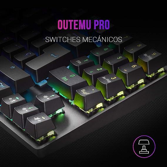 MARSGAMING MKREVOPRO, Teclado Gaming RGB Mecánico, TKL+ NUM, Switch Rojo, ES