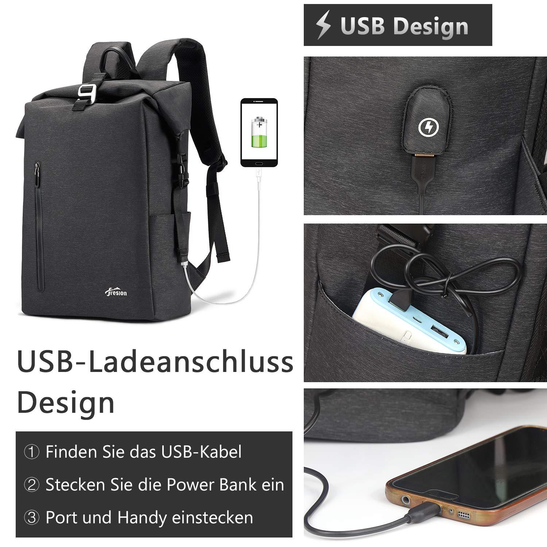 Fresion Laptop Rucksack Damen Herren Laptoprucksack mit USB Anschluss Wasserabweisender Schulrucksack Tagesrucksack Business Rucksack mit Laptopfach f/ür 14 Zoll Notebook Arbeit Uni Reise Blau
