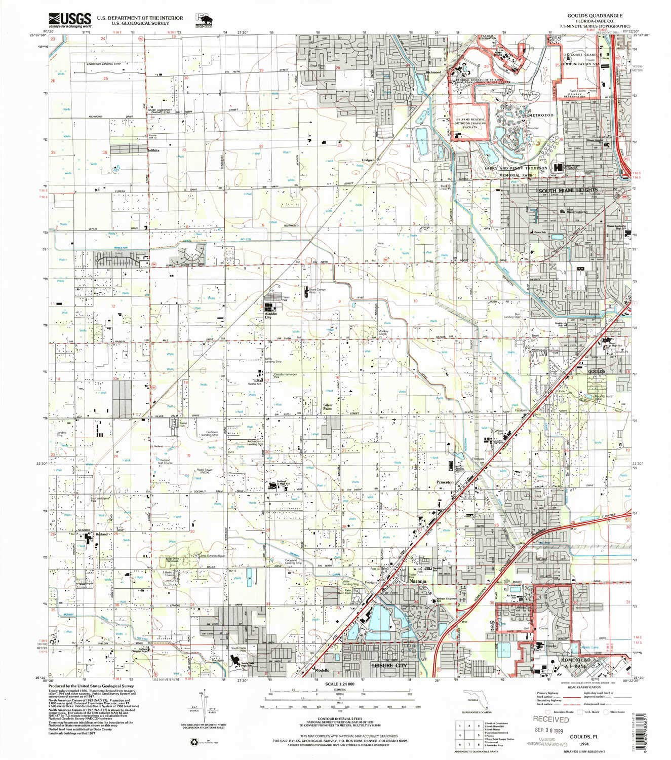YellowMaps Goulds FL topo map, 1:24000 Scale, 7.5 X 7.5 Minute, Historical, 1994, Updated 1999, 26.9 x 23.7 in - Polypropylene by YellowMaps