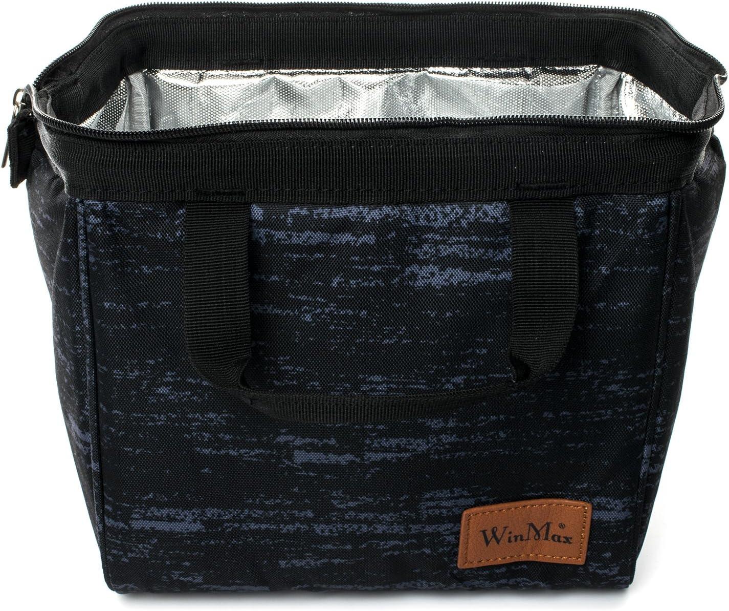 Borsa Termica Borsa Pranzo Manutenzione di Freddo e Caldo Porta Pranzo Cibo Alimentazione con Maniglia Durevole Lunch Box per Campeggio Lavoro Scuola Grigio