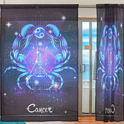 office window curtains blind constellation zodiac sign cancer window sheer curtain panels christmas decoration door gauze curtains amazoncom