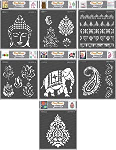 CrafTreat Indian Stencils for Painting on Wood, Wall, Tile, Canvas, Paper and Floor - Indian Theme Bundle - 7 Pcs - 6x6 Inches each - Reusable DIY Art and Craft Stencils - Indian Decor Stencils