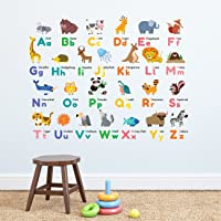 Decowall DW-1614 Colourful Animal Alphabet ABC Kids Wall Decals Wall Stickers Peel and Stick Removable Wall Stickers for Kids Nursery Bedroom Living Room…