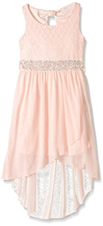 My Michelle Girls Big Crochet High Low Dress With Jeweled Waistband