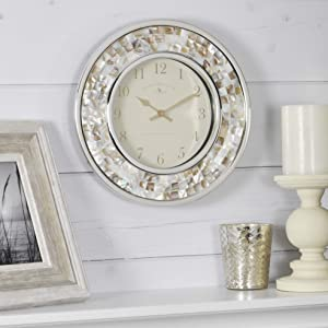 "FirsTime & Co. 00145 Pearl Mosaic Wall Clock, 10.25"", Natural, Chrome"