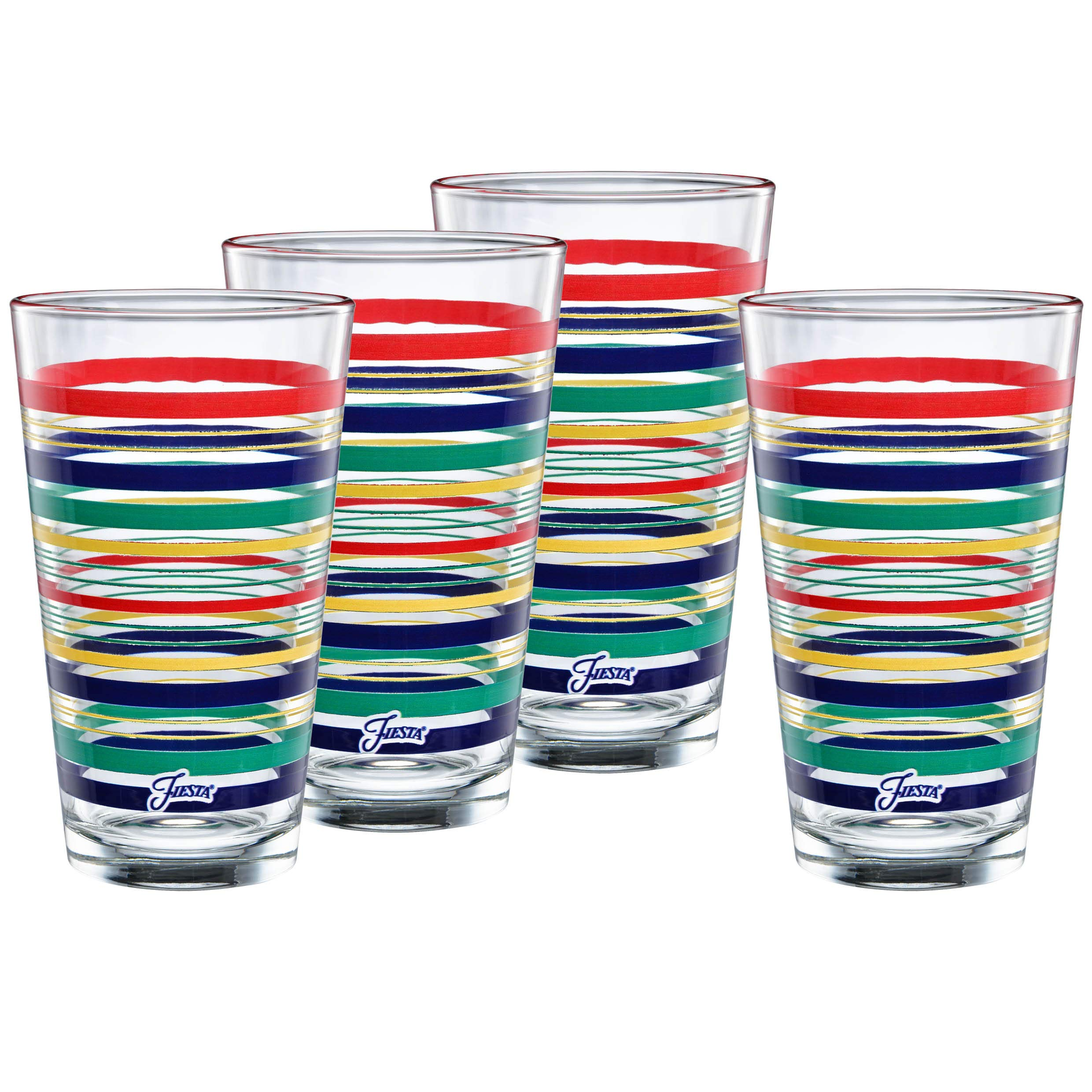 Officially Licensed Fiesta Stripes 16-Ounce Tapered Cooler Glass (Set of 4) (Cobalt Collection)