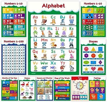 9 piezas Kit de póster de Aprendizaje preescolar carteles educativo para niños pequeños número
