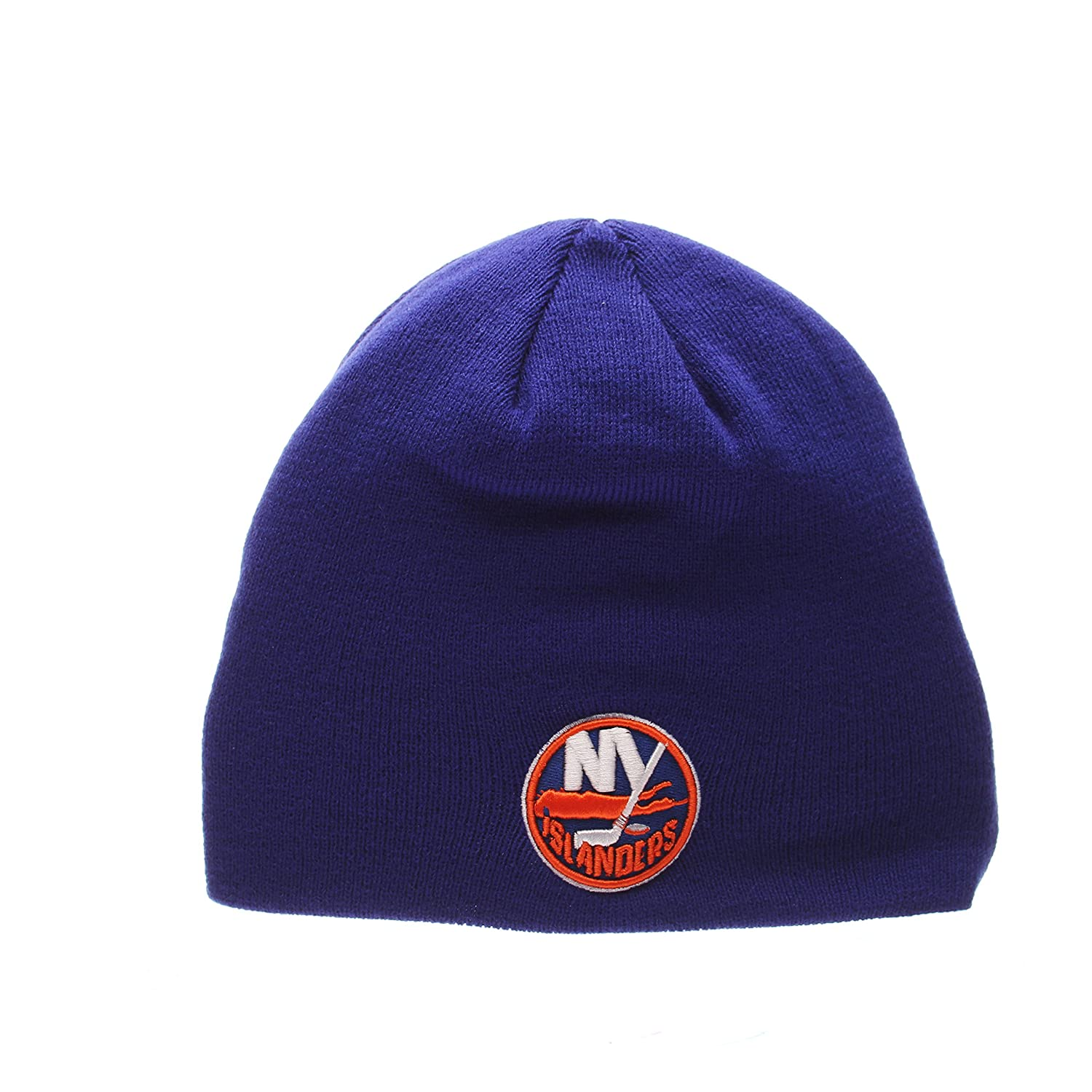 ZHATS New York Islanders Royal Edge Skull Cap NHL Cuffless Winter Knit Beanie Toque Hat