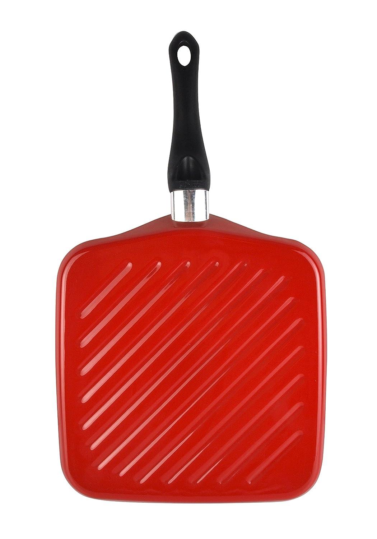 Magefesa asador 28 cm, color rojo, válido induccion y vitrocerámica. Antiadherente.
