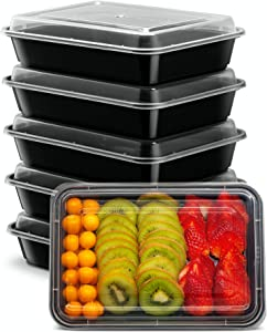 Ez Prepa 5 Plastic Meal Prep Containers – 28 oz Single Compartment Reusable Food Storage Containers with Lids for Healthy Portion Control – Stackable, Microwavable, Freezer and Dishwasher Safe