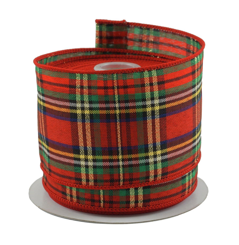 Tartan Plaid Red & Green Christmas Ribbon - 2.5 X 10 Yd Cut Ribbons