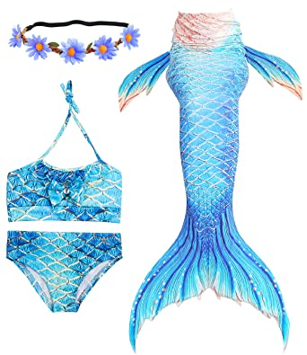 Mother & Kids Qualified 3pcs Little Mermaid Tails For Swimming Costume Mermaid Tail Cosplay Girls Swimsuit Kids Children Ruffles Beach Swimwear Clothes