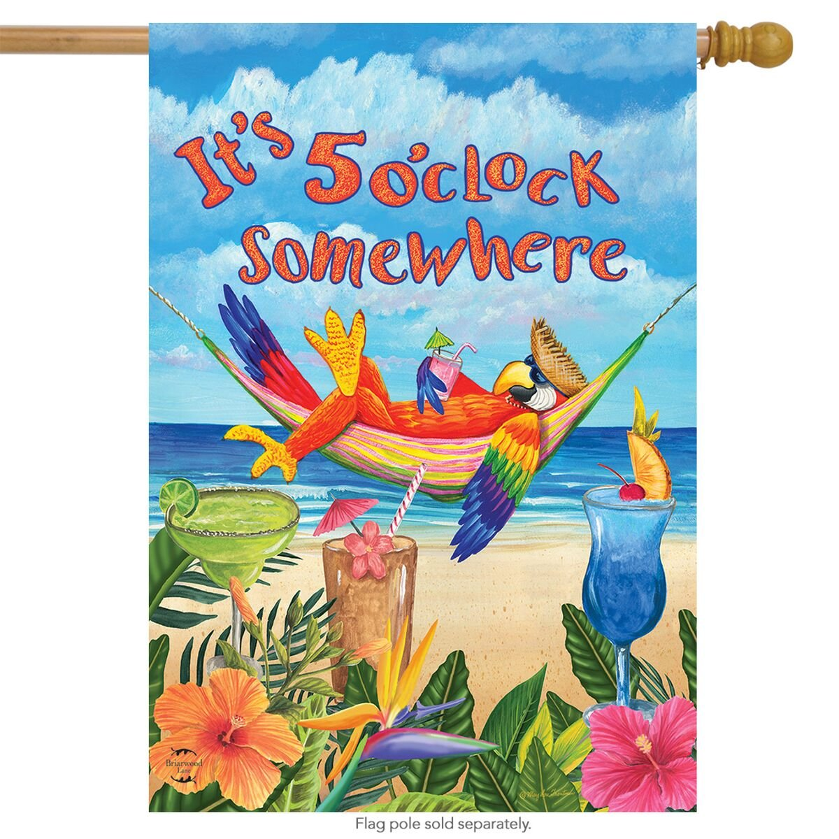 "Briarwood Lane 5 O'clock Parrot Summer House Flag Tropical Beach Humor 28"" x 40"""