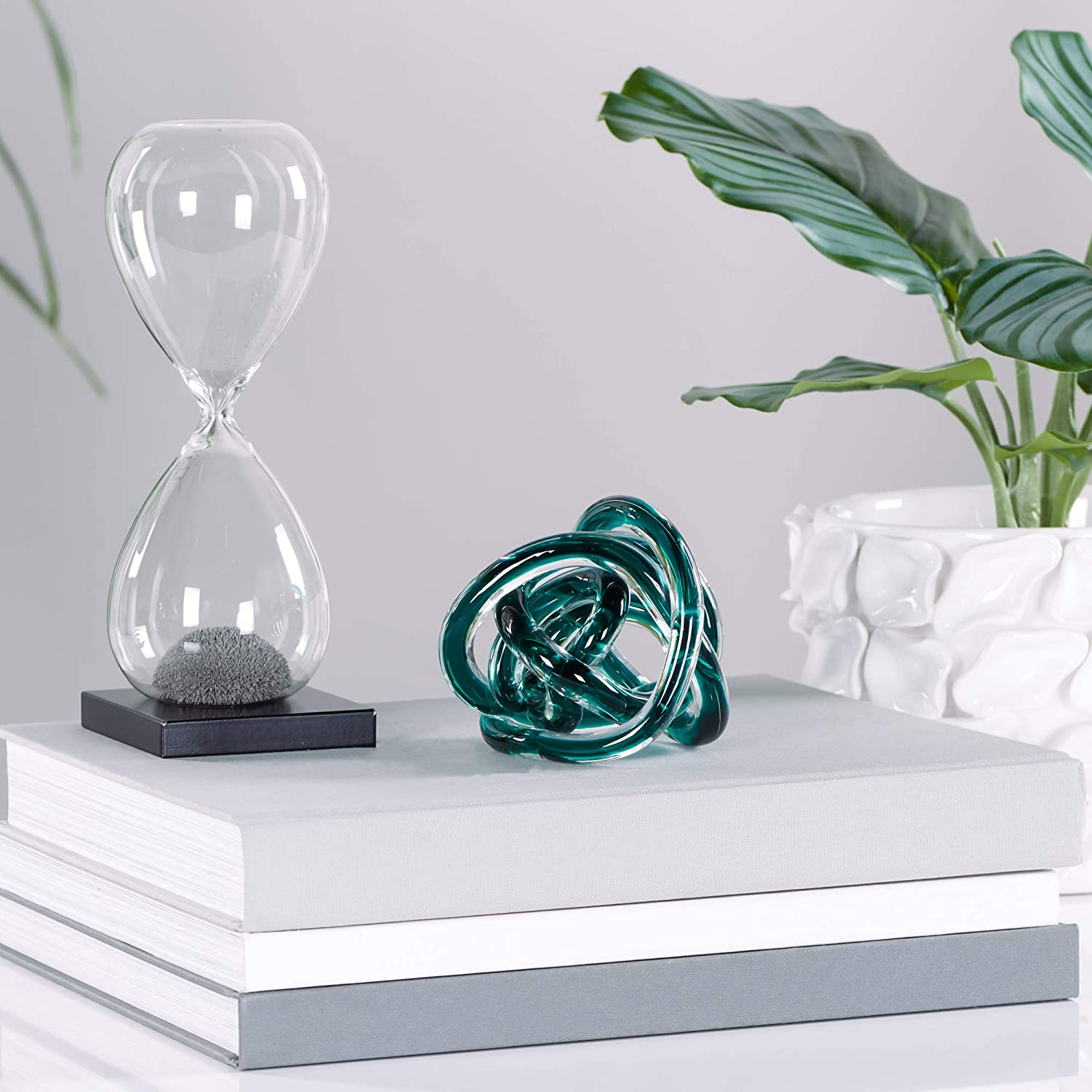 Shabby Chic Classy and Sophisticated Torre /& Tagus Teal Orbit Glass D/écor Knot 4.5 /& 3 Home Decoration Set of Two Elegant