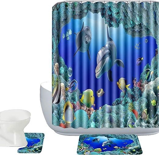 Dolphins 15-PIece Bathroom Accessories Set Rugs Shower Curtain Bath Blue Sea