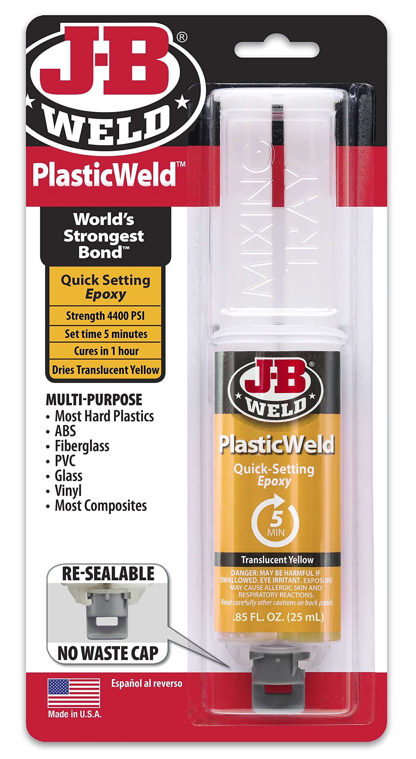 J-B Weld 50132 PlasticWeld Quick-Setting Epoxy Syringe -  Translucent Yellow - 25 ml