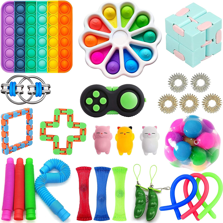 EfthymosXD Cheap 25Pcs Sensory Fidget Toy Set, Fidget Blocks Fidget Pack Sensory Relieves Stress Anxiety Push Pop Bubble Squeeze Bundle Gifts for Kids Adults