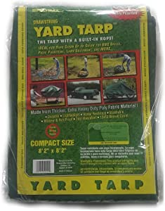 Yard Tarp with Drawstring-Poly Rope in Hem- Multi-Purpose Cover (8.2x8.2)