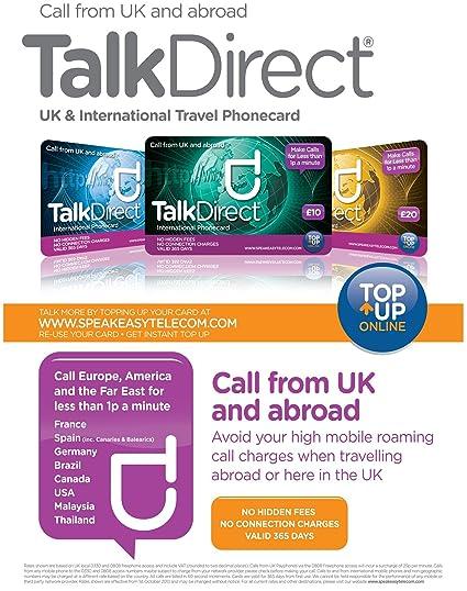 Talk Direct tarjeta prepago de llamadas internacionales - Llamadas desde el Reino Unido y al extranjero por menos de 0,01 EUR por minuto