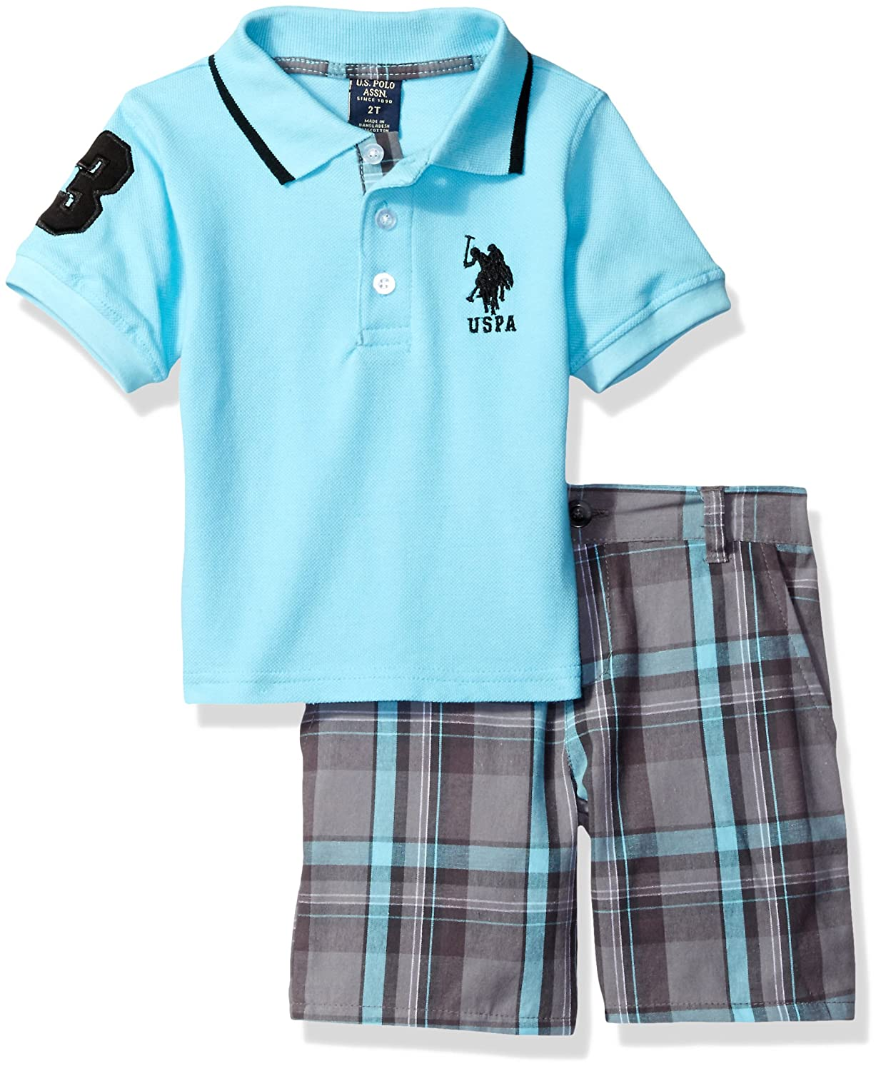U.S. Polo Assn. Boys' Little Embellished Pique Shirt and Plaid Short