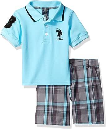 U.S. POLO ASSN. Boys' Little Embellished Pique Polo Shirt and