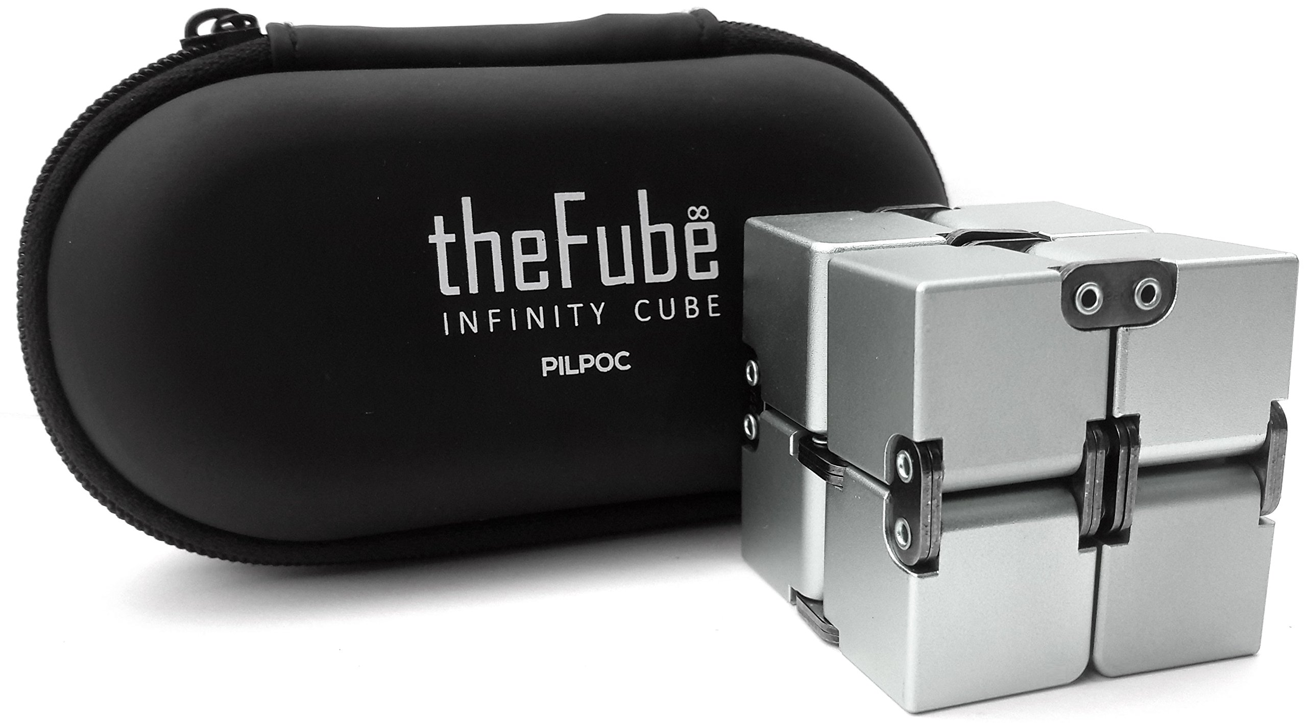 PILPOC theFube Fidget Cube Infinity Cube Desk Toy - Premium Quality Aluminum Infinite Magic Cube with Exclusive Case, Sturdy, Heavy, Relieve Stress and Anxiety, for ADD, ADHD, OCD (Silver) by PILPOC