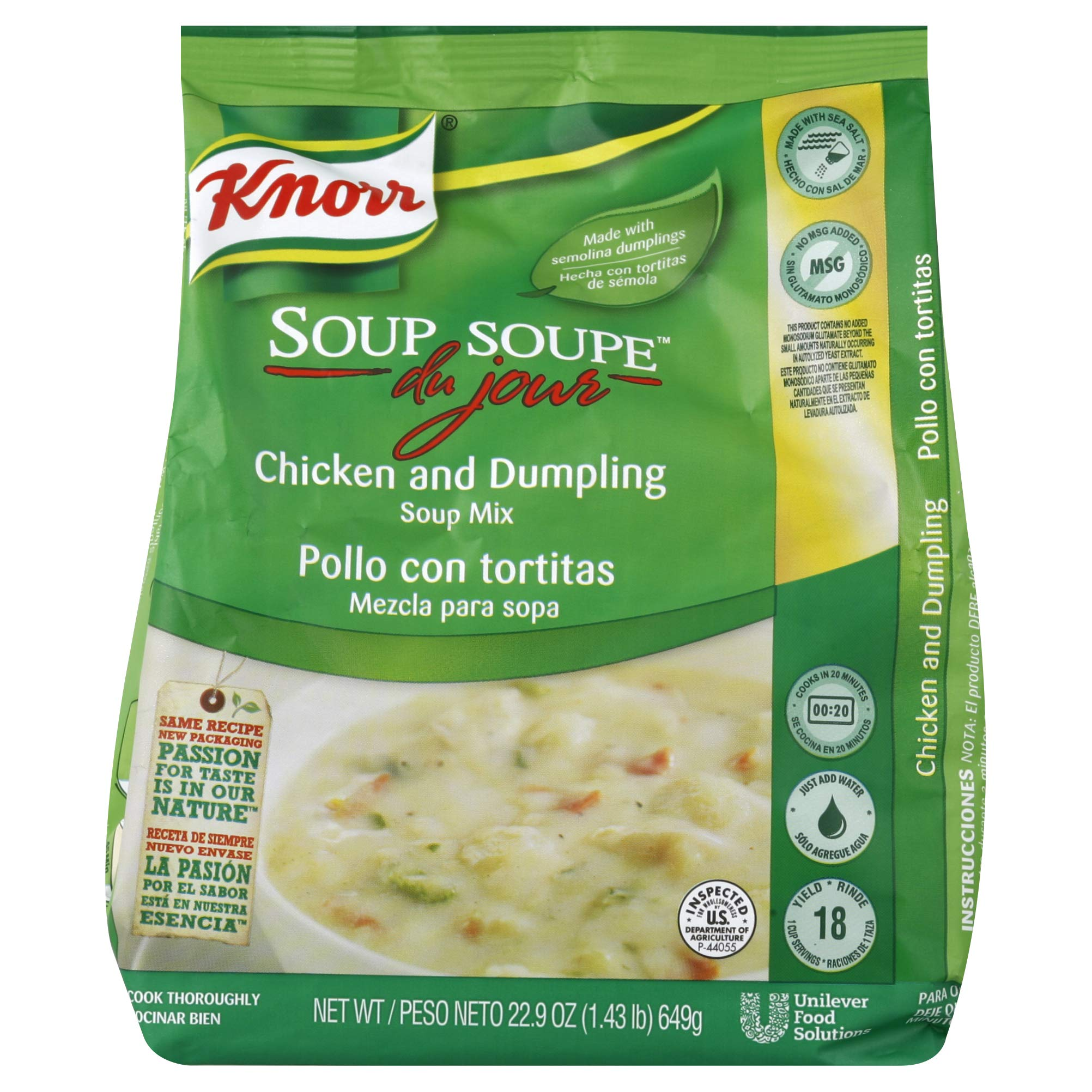 Knorr Soup du Jour Mix Chicken and Dumpling 22.9 oz, Pack of 4