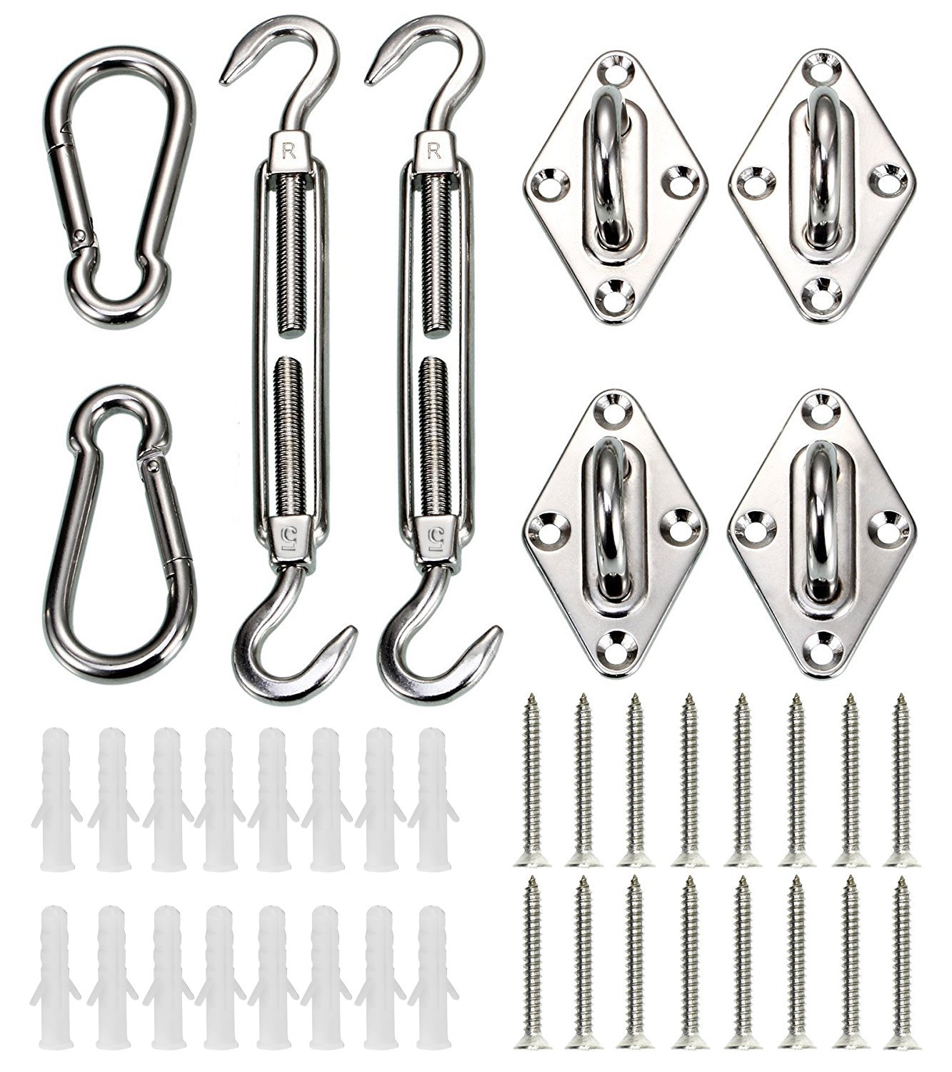 CARSINEL 316 stainless steel heavy duty shade sail hardware kit for rectangle sun shade sail installation