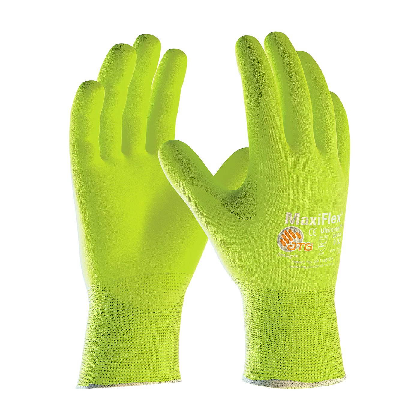 Hi-Vis Seamless Knit Nylon/Lycra Glove with Nitrile Coated MicroFoam Grip on Palm & Fingers, Size X-large 12 Pair