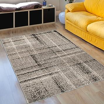 Teppich Wohnzimmer Modern Prestige U2013 Dunkelgrau Design Quadratisch U2013  Pflegeleicht U2013 Beste Qualität U2013 Größen S
