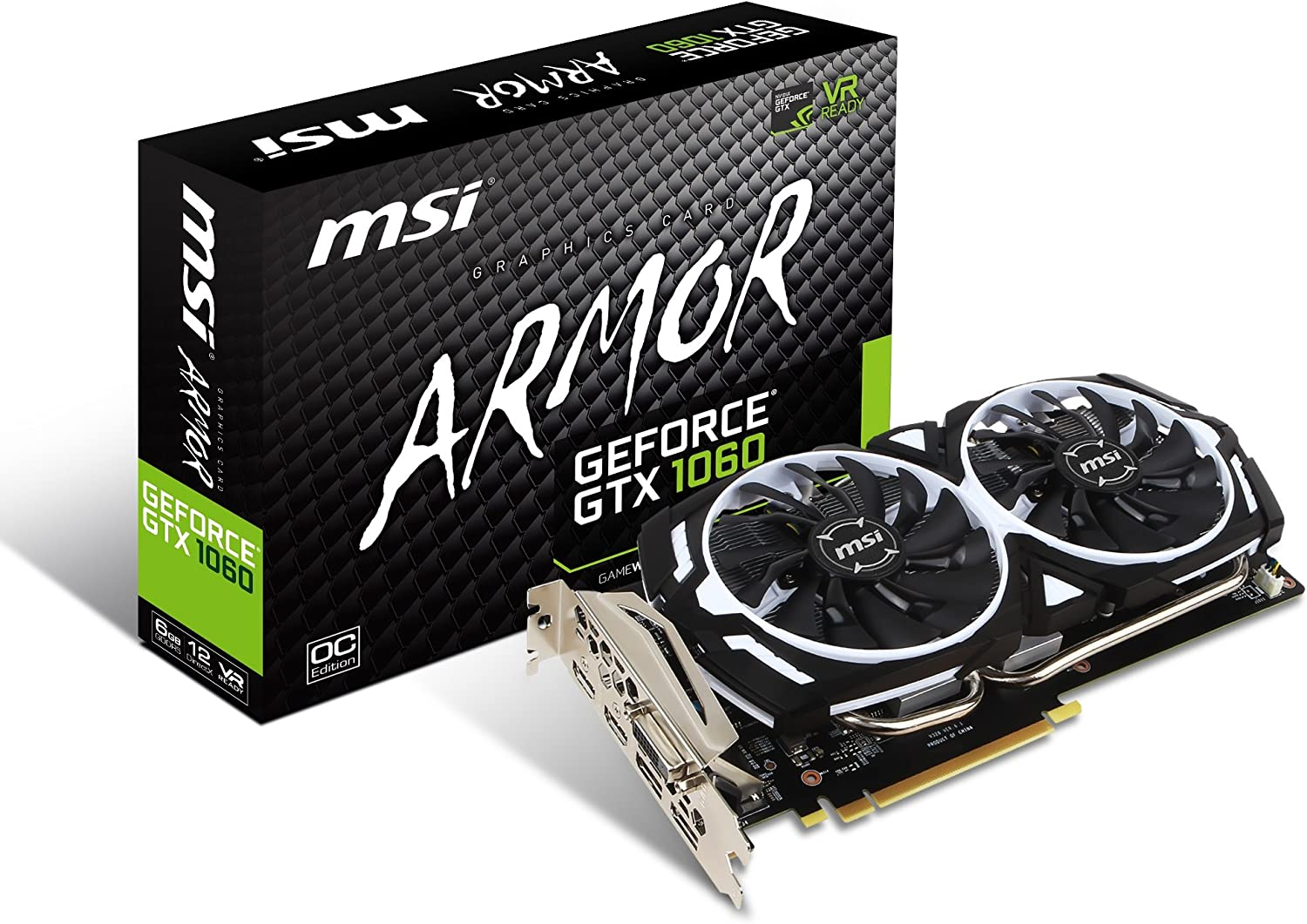 MSI GAMING GeForce GTX 1060 6GB GDRR5 192-bit HDCP Support DirectX 12 Dual Fan VR Ready OC Graphics Card (GTX 1060 ARMOR 6G OCV1)