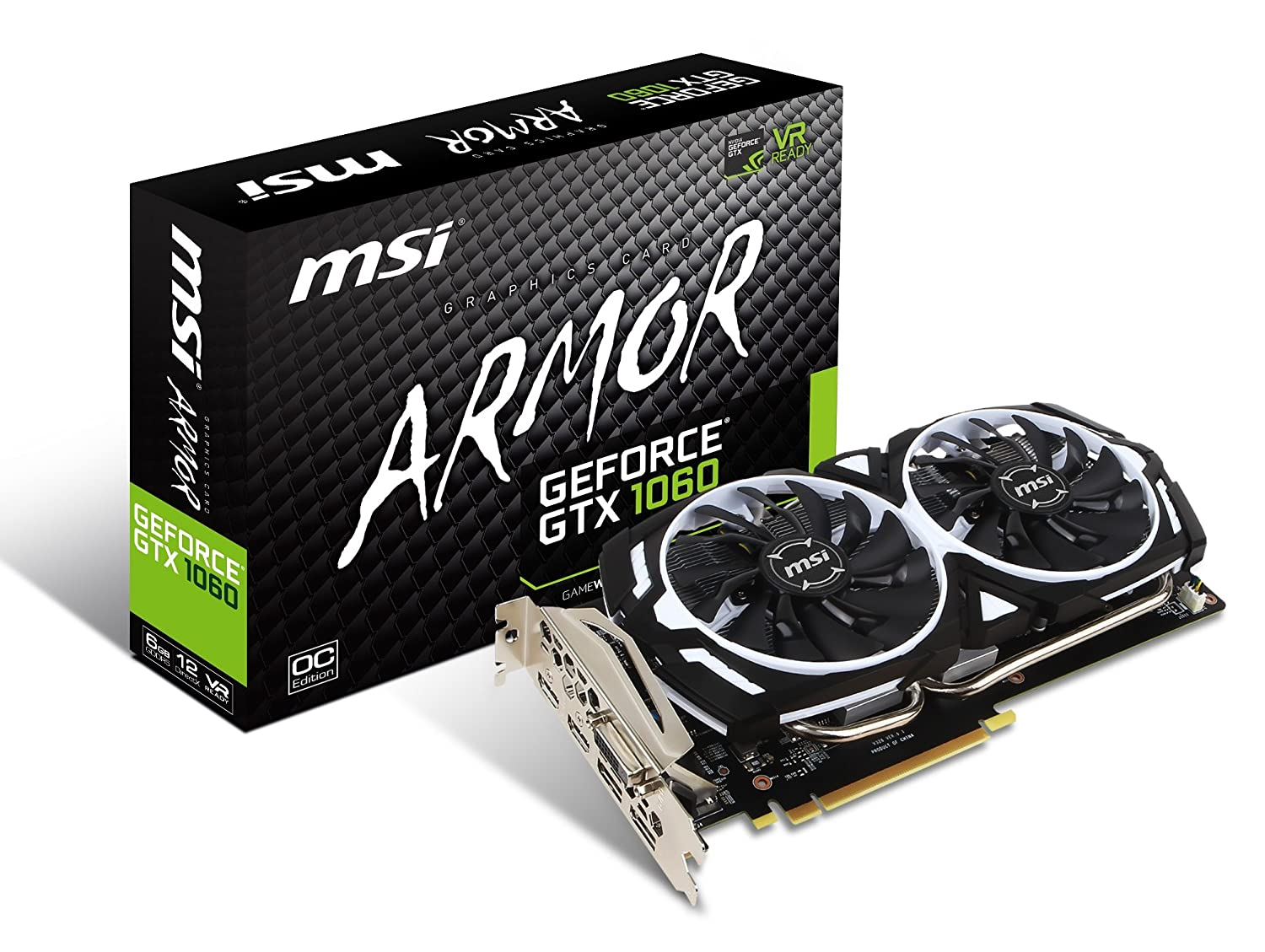 Amazon.com: MSI GAMING GeForce GTX 1060 6GB GDRR5 192-bit HDCP Support  DirectX 12 Dual Fan VR Ready OC Graphics Card (GTX 1060 ARMOR 6G OCV1):  Computers & ...