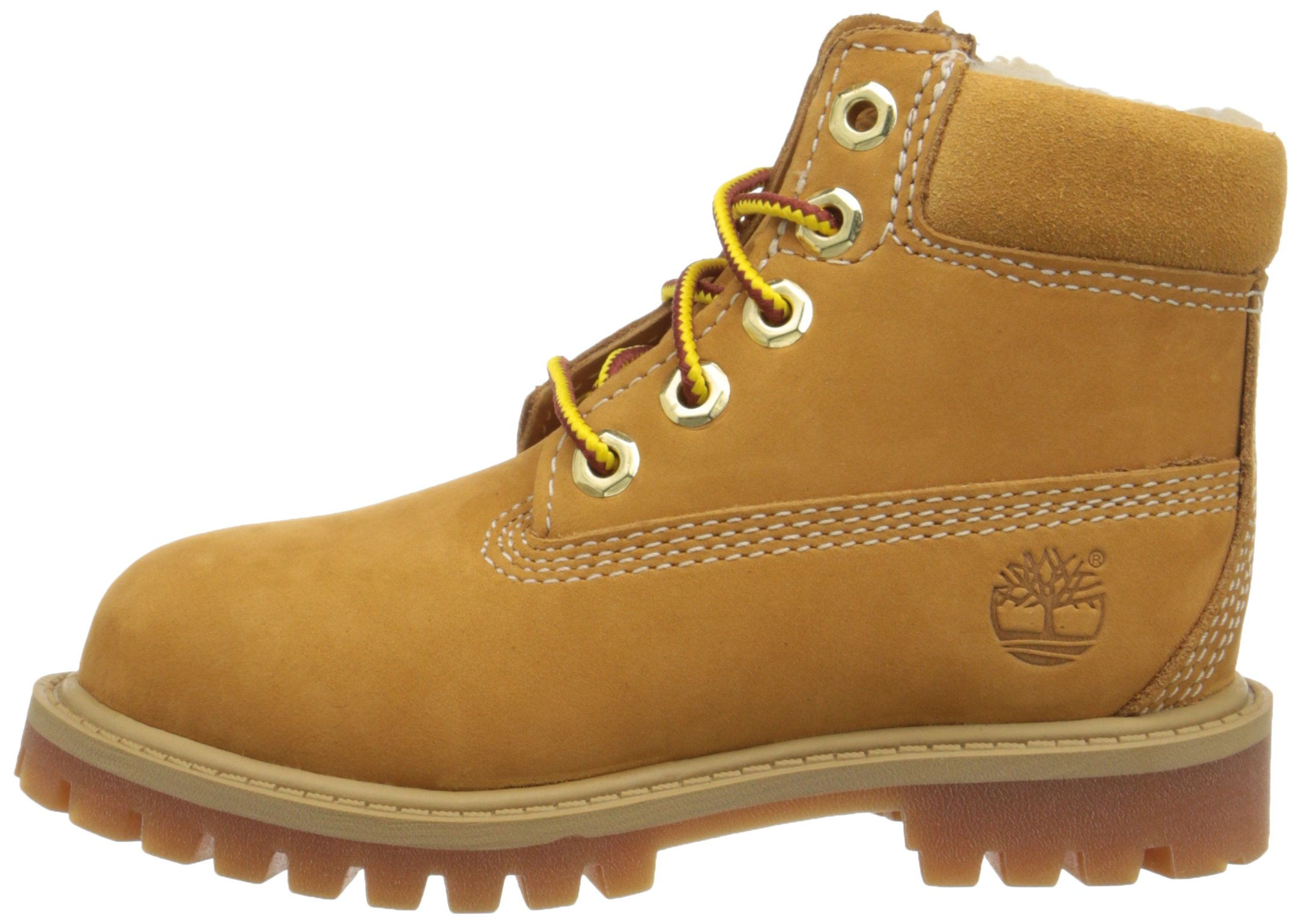 Timberland 6 Inch Premium With Faux Shearling Boot (Toddler/Little Kid/Big Kid), Wheat Nubuck, 4 M US Big Kid by Timberland (Image #5)
