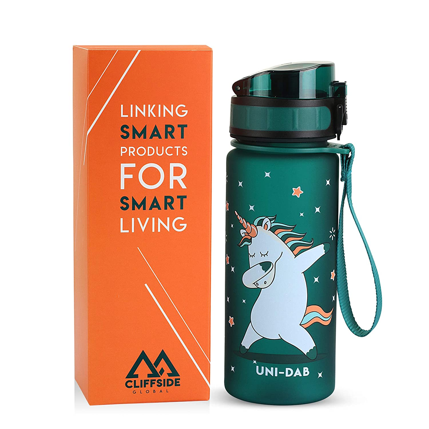 Unicorn Approved 12oz Non-Toxic /& BPA Free Single Action Lid Fast or Slow Flow Cliffside Global Kids Water Bottle Eco-Friendly /& Durable TRITAN Material Reusable Leak Proof