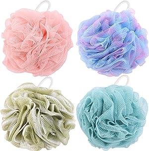 4 Packs Bath Puffs, 60g/pcs Exfoliating Loofah Shower Sponges for Men and Women Exfoliate
