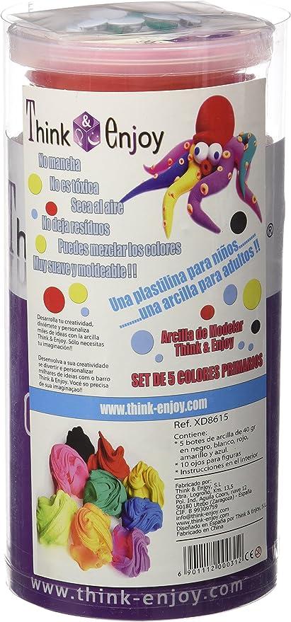 Think & Enjoy 422407 - Pack de 5 botes de arcilla para modelar, 40 gr, multicolor: Amazon.es: Oficina y papelería