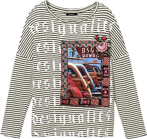 Desigual - Camiseta Hawai Mujer Color: 1000 Talla: Size M: Amazon.es: Ropa y accesorios