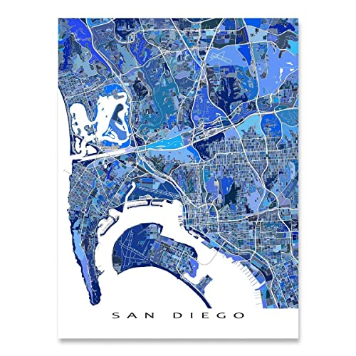 Amazon.com: San Diego Map Art, California USA, City Artwork Print ...