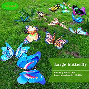 FENELY Giant Butterfly Garden Stakes Decorations Outdoor 3D Butterflies Lawn Decorative Yard Decor Patio Accessories Ornaments PVC Gardening Art Christmas Whimsical Gifts (Pack of 12)