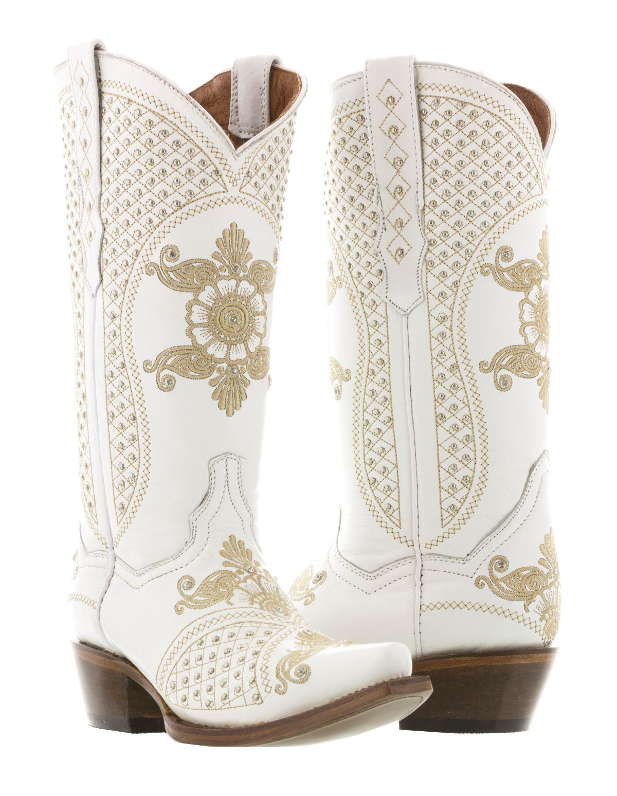 Cowboy Professional - Women's White Marfil Wedding Studded Cowboy Boots Snip Toe 8 BM