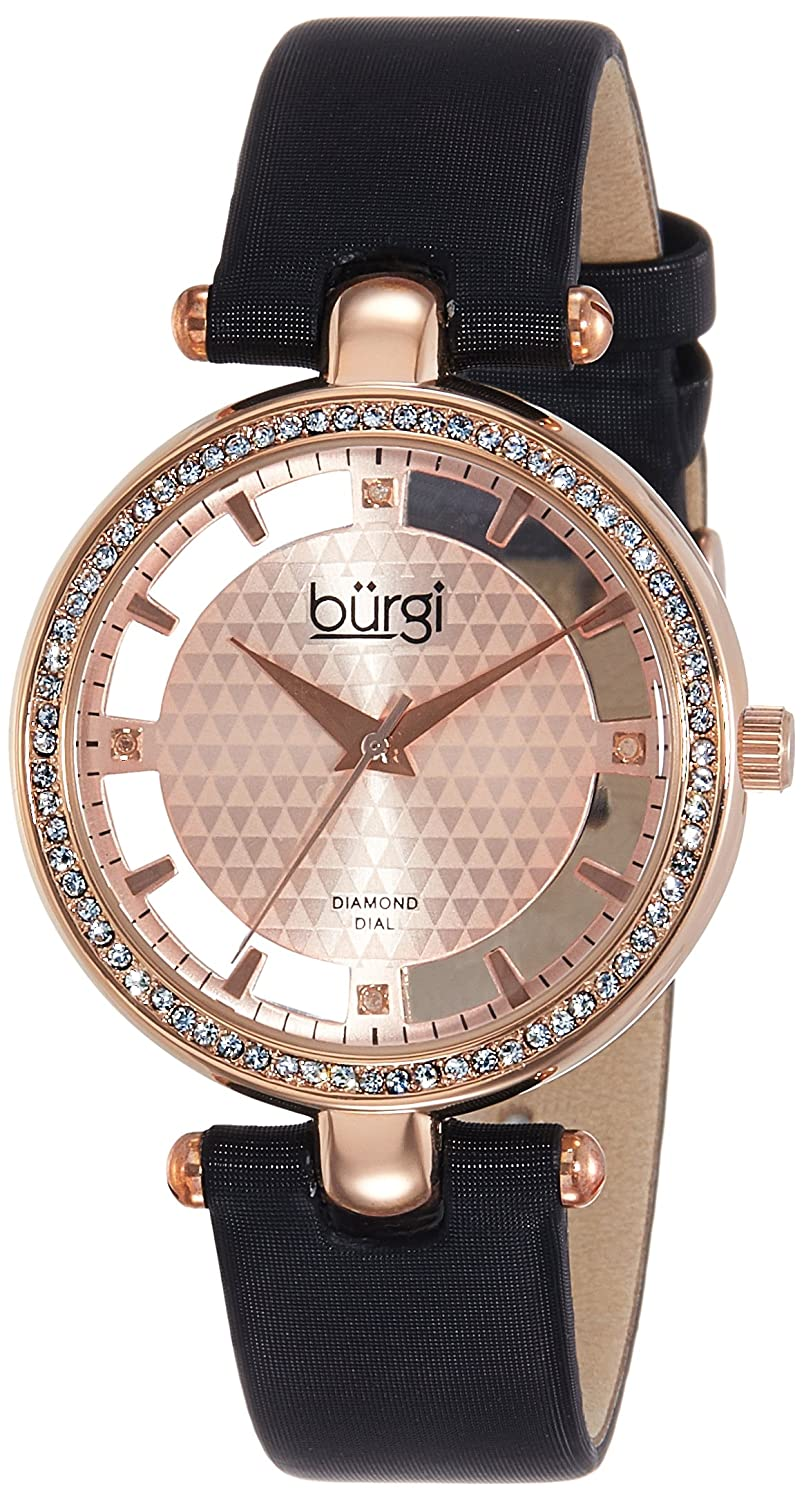 Amazon.com: Burgi Womens BUR104 Rose Gold-tone Diamond and Crystal Black Satin Strap Watch (Rose Gold): Burgi: Watches