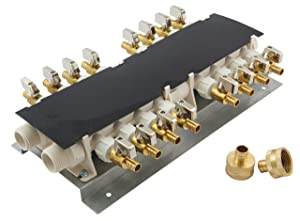 Apollo PEX 6907984CP 16 Port PEX Manifold (3/4-inch Inlets, 1/2-inch Outlets) with Shutoff Valves