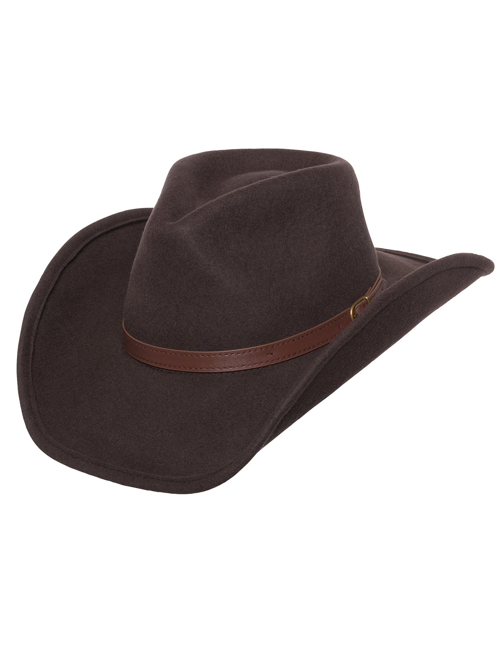 Men's Outback Wool Cowboy Hat Dakota Brown Shapeable Western Felt by Silver Canyon, Brown, XX-Large