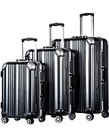 Coolife Luggage Aluminium Frame Suitcase 3 Piece Set with TSA Lock 100%PC