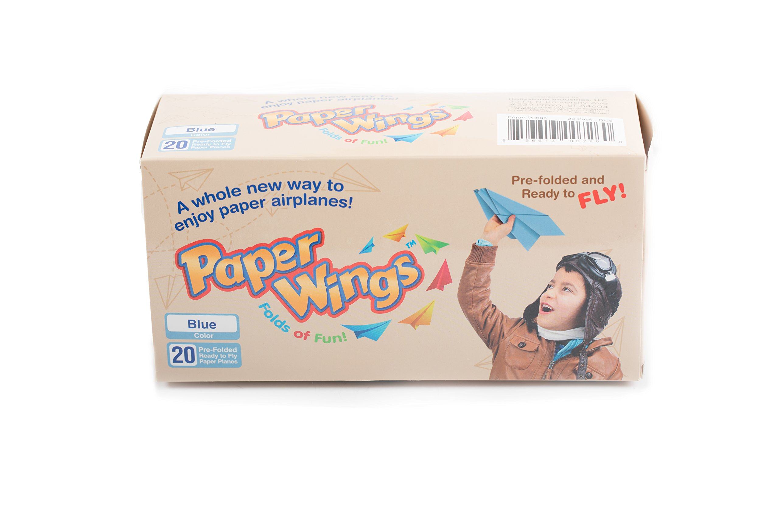 Paper Wings Pre-Made Paper Airplanes, Colorful Pre-Folded Airplane Models, Indoor & Outdoor Toys for Kids or Parties (Blue, Set of 20)