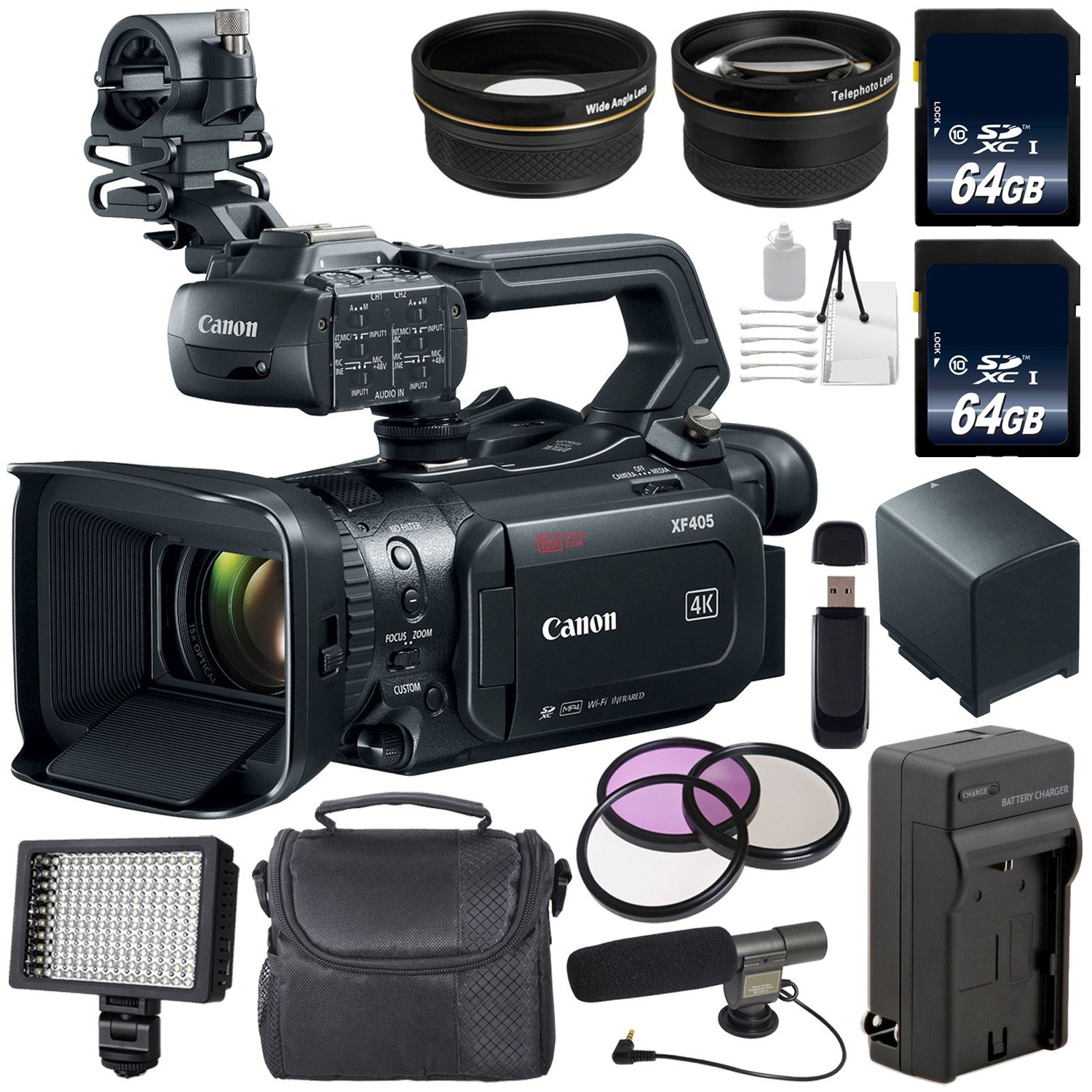 with Extra Battery 3667C002 Tripod LED Light Padded Case Canon Vixia HF G50 UHD 4K Camcorder Black UV Filter 64GB Memory Card and More Starter Bundle